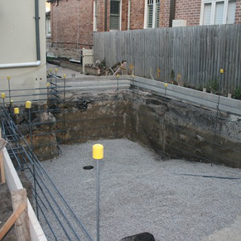 Swimming pool around house – form work